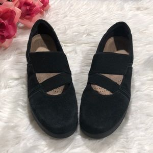 Clarks Black Suede Mary Jane Slip On Shoes Sz 7